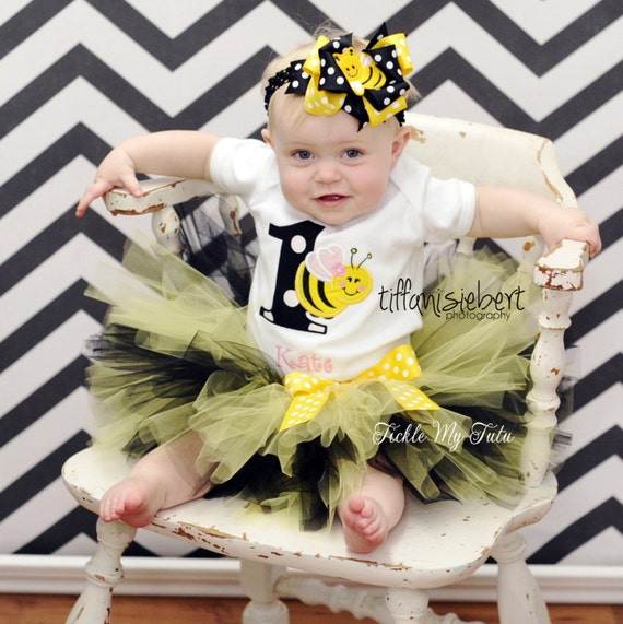 Bumble Bee 1st birthday shirt tutu halloween outfit I/'m One