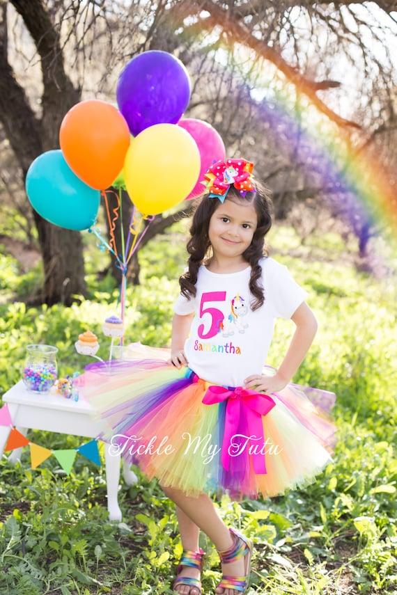 Rainbow Unicorn Cutie Birthday Tutu Outfit-Rainbow Birthday Tutu Outfit-Unicorn Birthday Tutu Outfit *Bow NOT Included*
