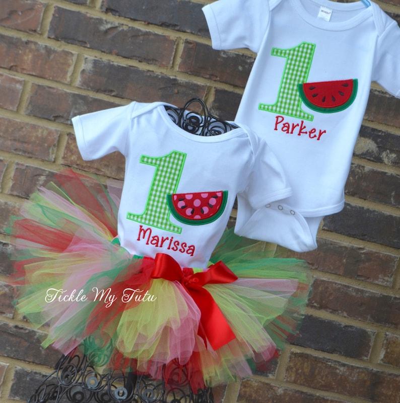 BoyGirl Twin Watermelon Picnic Birthday Outfits-Twin Watermelon Birthday Outfit-Watermelon Birthday Tutu Set-Watermelon Party Outfits