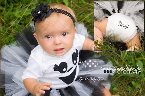 Girls Ghost Costume HA01 Handmade Ghost Headband GHOST Baby Girl TUTU Dress with Tulle Tutu Skirt Baby or Toddler Girl HALLOWEEN Costume