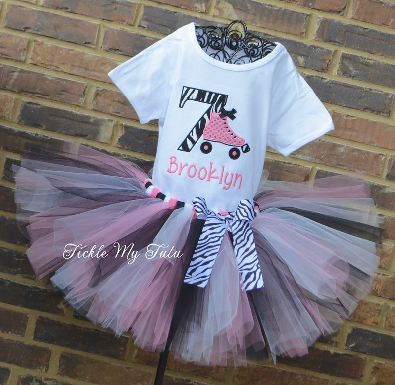 Roller Skate Themed Birthday Tutu Outfit-Skating Party Birthday Tutu Set-Roller Skate Party Outfit-Pink and Zebra Print Roller Skate Outfit