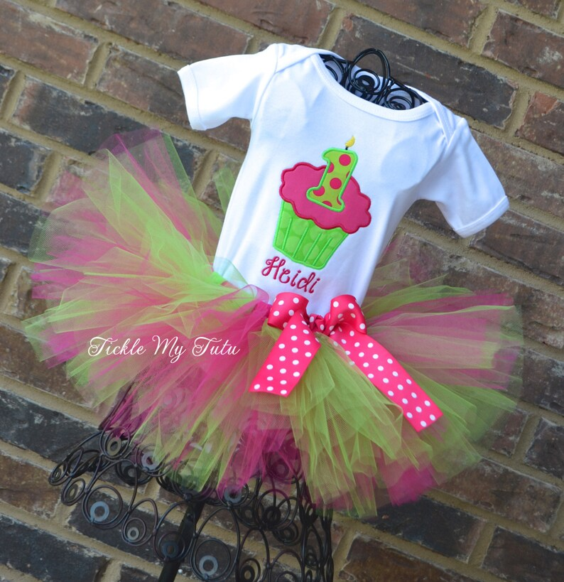Lime and Hot Pink Cupcake Number Candle Birthday Tutu Outfit-Cupcake Birthday Tutu Set-Lime and Hot Pink Birthday Tutu Outfit