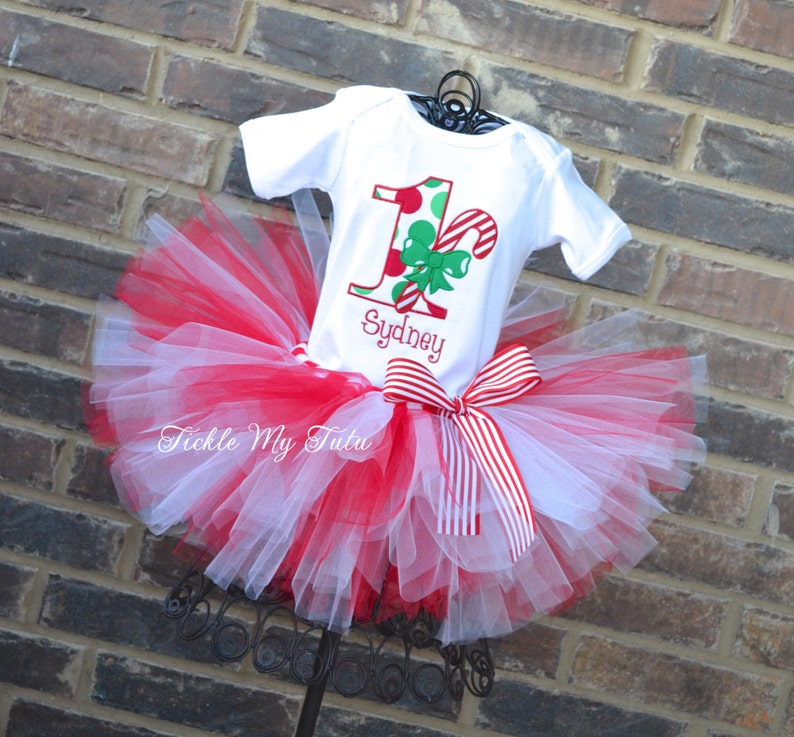 9da94dd0e Candy Cane Christmas Birthday Tutu Outfit-Christmas Birthday