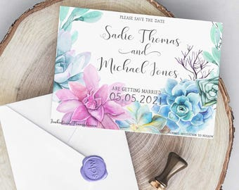 Succulent Wreath Wedding Collection / Spring Wedding / Floral Wedding / Flower Wedding / Seafoam Wedding Save the Date PRINTABLE/DIY
