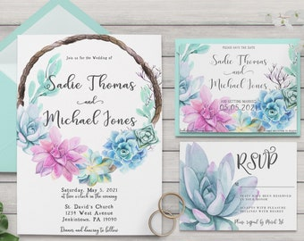 Succulent Wreath Wedding Collection / Spring Wedding / Floral Wedding / Flower Wedding / Seafoam Wedding Invitation / RSVP / Save the Date