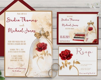 Beauty and the Beast Inspired Wedding Collection / Belle Rose and Gold Wedding / Library Wedding Invitation / RSVP / Save the Date PRINTABLE