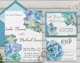 Succulent Wedding Collection / Spring Wedding / Floral Wedding / Flower Wedding / Seafoam Wedding Invitation / RSVP / Save the Date