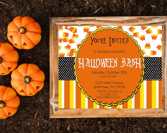 Candy Corn Halloween Party Invitation, Costume Party Invite, Adult Halloween Party, Kids Halloween Invite Trick or Treat Printable Halloween