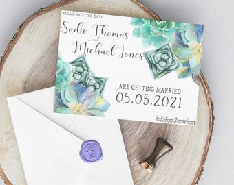 Succulent Wedding Collection / Spring Wedding / Floral Wedding / Flower Wedding / Seafoam Wedding Invitation Save the Date PRINTABLE/DIY