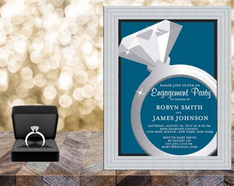 Diamond Ring Engagement Party Invitation, Engagement Invites, Engagement Party Invites, Engagement Invitations, Engaged Party Invitations