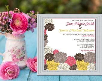 Floral Roses Modern Wedding Invitation PRINTABLE / DIY