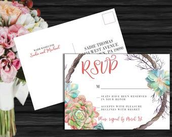 Succulent Wreath Wedding Collection / Spring Wedding / Floral Wedding / Flower Wedding / Seafoam Wedding RSVP Postcard PRINTABLE/DIY