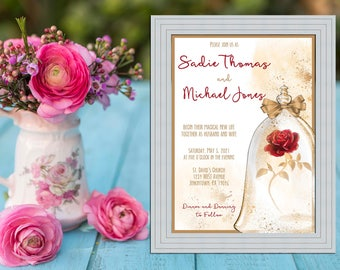 Beauty and the Beast Inspired Wedding Collection / Belle Rose and Gold Wedding / Library Book Wedding Invitation PRINTABLE / DIY