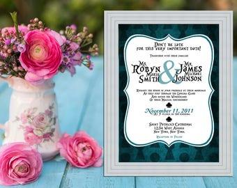 Alice in Wonderland Key Hole Modern Wedding Invitation PRINTABLE / DIY
