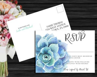 Succulent Wedding Collection / Spring Wedding / Floral Wedding / Flower Wedding / Seafoam Wedding RSVP Postcard PRINTABLE/DIY