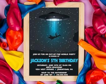 Space Invitation, Space Birthday Invitation, Outer Space Invitation, Rocket Ship, Astronaut Invitations, UFO Party, Alien Invitation, Galaxy
