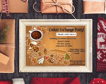 Cookie Exchange Christmas Party Invitation, Holiday Party Invite, Xmas Party Invitation, Printable Christmas Party, Winter Party Invite