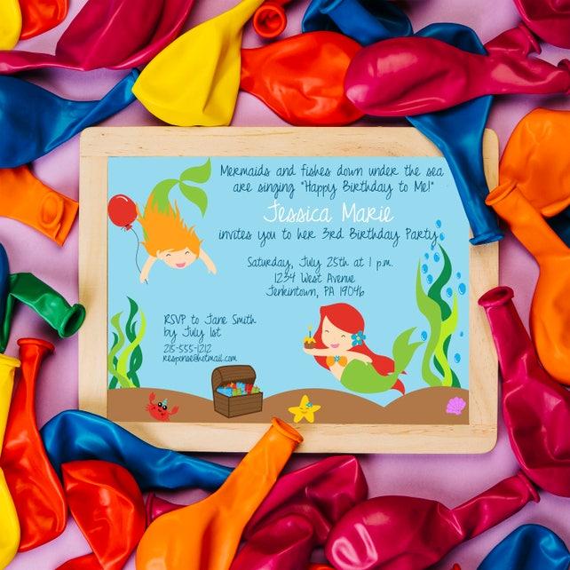 Mermaid Birthday Invitation, Mermaid Invitations, Under the Sea Bithday Invite, Pool Party Invitations, Mermaid Birthday Party, Swim Party