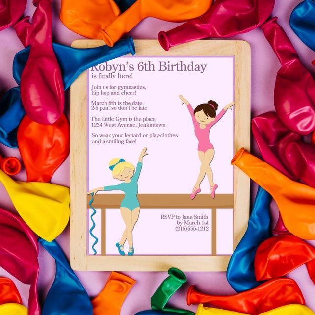 Gymnastics Birthday Invitation, Balance Beam Invite, Gymnastic Invitation, Gymnastics Birthday Invite, Girls invitations, Gymnastic Party
