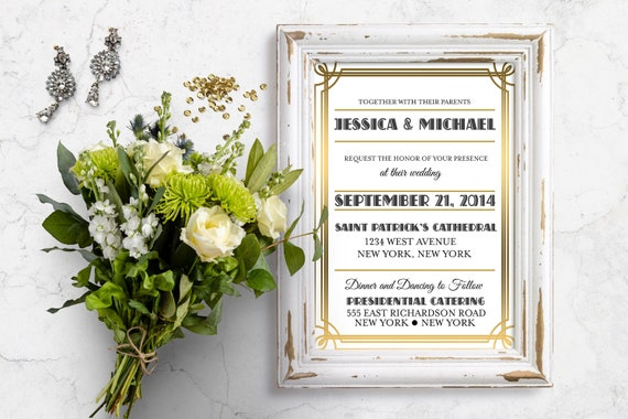 Gatsby Wedding Invites: Art Deco Wedding Invitation Great Gatsby Wedding Gatsby