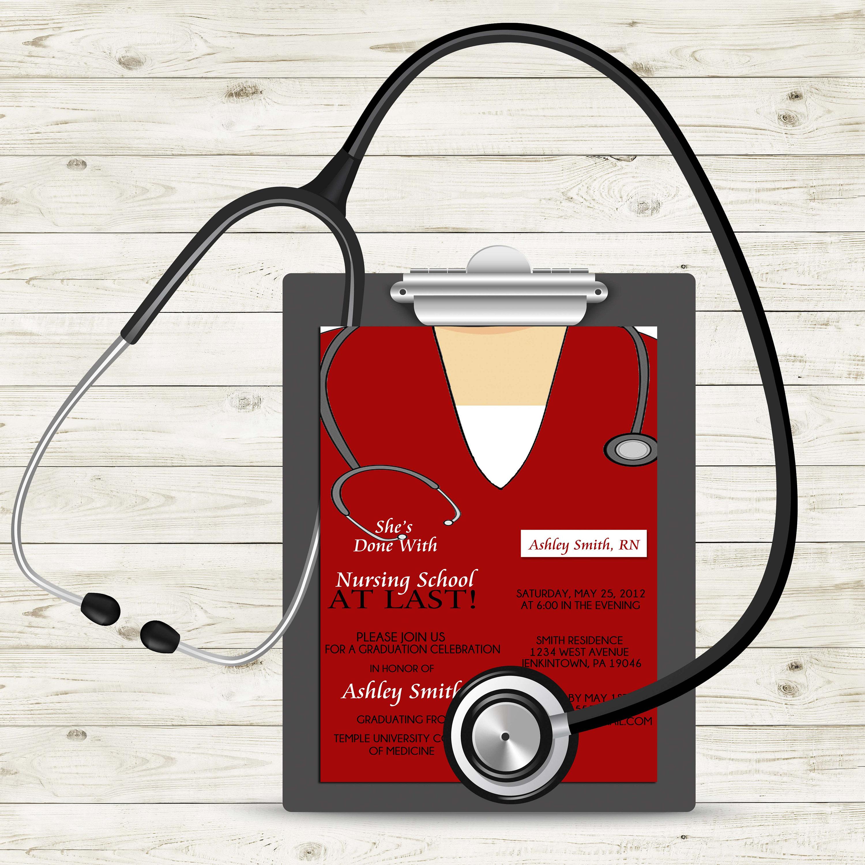 Scrub Top Nursing Graduation Invitation Medical Graduation | Etsy