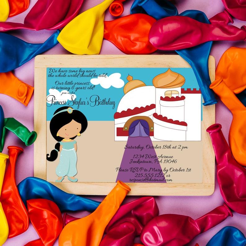 Aladdin Inspired Birthday Invitation Princess Jasmine