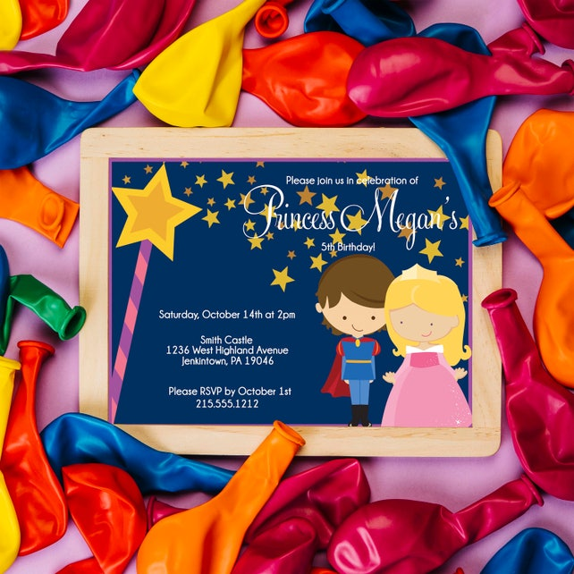 Sleeping Beauty Birthday Invitation Princess Aurora Party Royal Fairy Tale