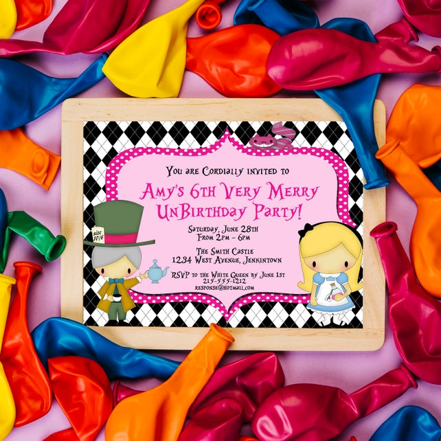 Alice In Wonderland Birthday Invitation Mad Hatter Unbirthday Party