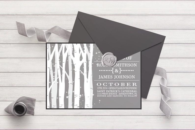 Birch Tree Wedding Invitation 013 Forest Wedding Rustic Invitation Bohemian Wedding Spring Invitation Summer Wedding Outdoor Collection