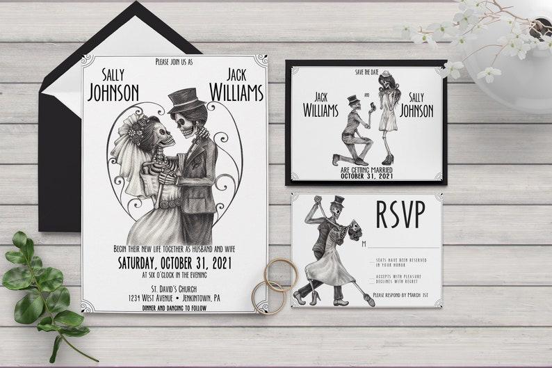 Skeleton Bride and Groom Wedding Invitation Sugar Skull image 0