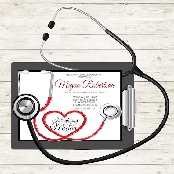 Stethoscope nurse graduation invitation medical graduation etsy image 0 filmwisefo