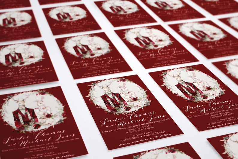 Bohemian Wedding Invitation Christmas Wedding Boho Collection Winter Wedding Invitation Woodland Wedding Deer Rabbit Invitation 017