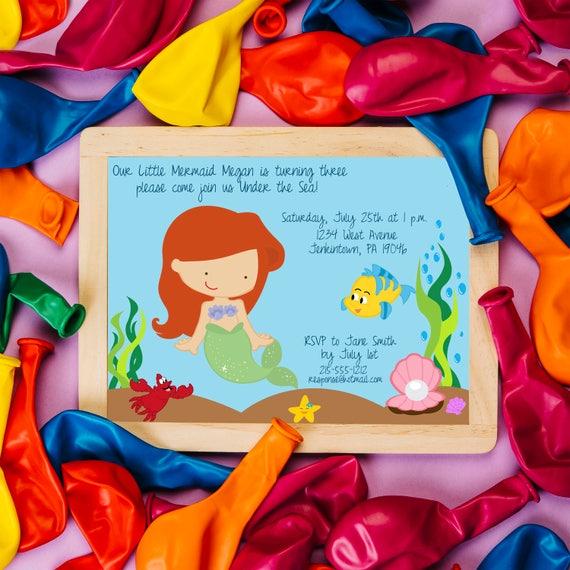 Mermaid Birthday Invitation,  Ariel Little Mermaid, Princess Birthday Invite, Under the Sea Bithday Invite, Pool Party Invitations, Swimming