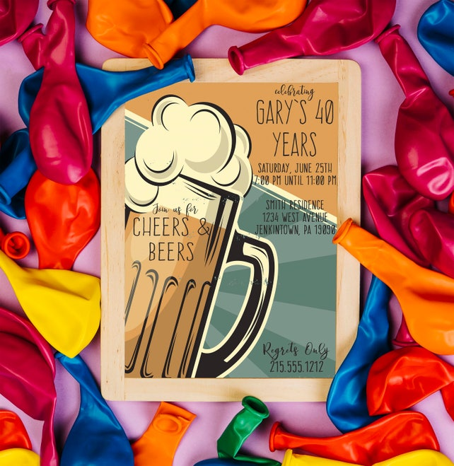 Cheers and Beers / Beer Birthday / 40th Birthday / Retro Birthday Printable Adult Birthday Party Invitation Cards DIY