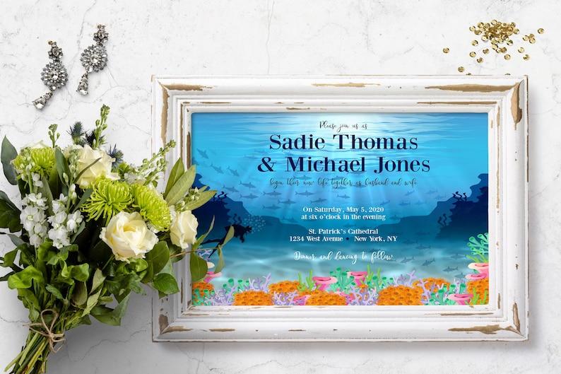 Scuba Invitation Ocean Wedding Sea Shore Wedding Nautical Summer Wedding Collection Under the Sea Wedding Invitation 108 Beach Wedding