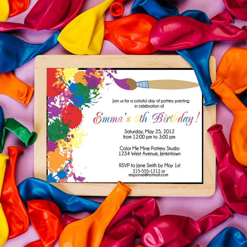 Painting Palette Invite Art Birthday Party Invitation Paint Birthday Party Paint Party Invitation Art Party Artist Birthday Party Color