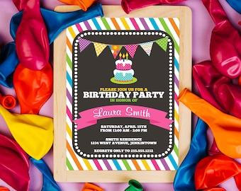 Rainbow Invitation Rainbow Birthday Invitation Rainbow Birthday party Rainbow Girl Digital Invite Rainbow Party Rainbow Invites Rainbow Baby