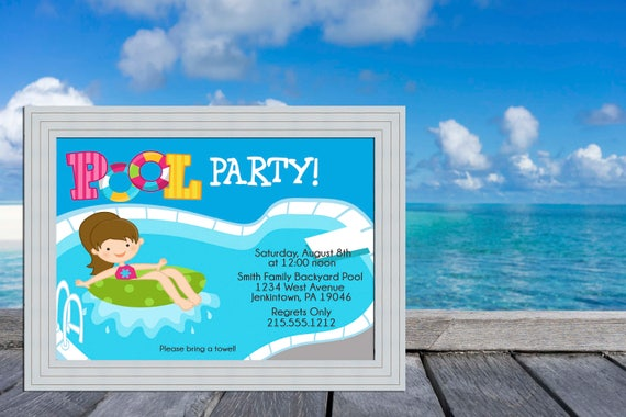Girl Pool Party Swimming Pool Deck Pool Party Invitation, Pool Invitation, Pool Birthday Invite, Pool Birthday, Swimming Party, Summer Party