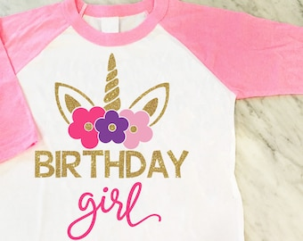 Unicorn Birthday Girl Shirt, Gold Glitter Unicorn Shirt, Unicorn Theme Birthday Party, Girls Birthday Shirt
