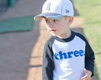 THIRD BIRTHDAY shirt , 3rd birthday - Kid's personalized NUMBER raglan baseball shirt - three, third - you choose colors - long sleeve