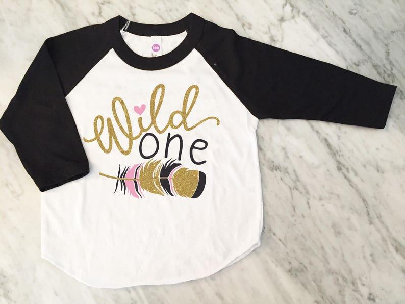 Baby Girl 1st Birthday Shirt Girls Wild One
