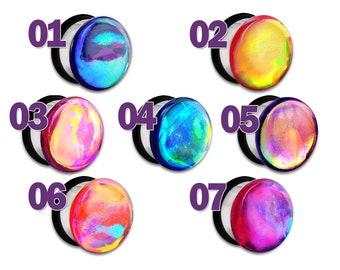 """Rainbow Faux Dichro Dichroic Plug / Gauge 2g 1g 0g 00g 7/16"""" / 6mm 7mm 8mm 9mm 10mm 11mm Aberration 01-07"""