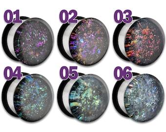 "Galaxy Nebula Faux Dichro Holographic Plug / Gauge 3/4"" 7/8"" 1"" / 19mm 20mm 22mm 24mm 25mm Messier M900"