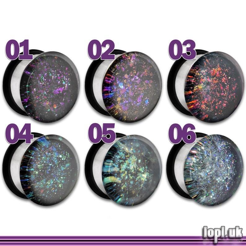 Galaxy Nebula Faux Dichro Holographic Plug / Gauge 0g 00g image 0