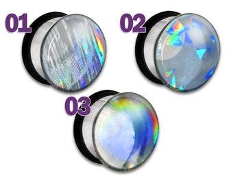 "Clear Rainbow Holographic Plug / Gauge 2g 1g 0g 00g 7/16"" / 6mm 7mm 8mm 9mm 10mm 11mm Glitter Bifrost"