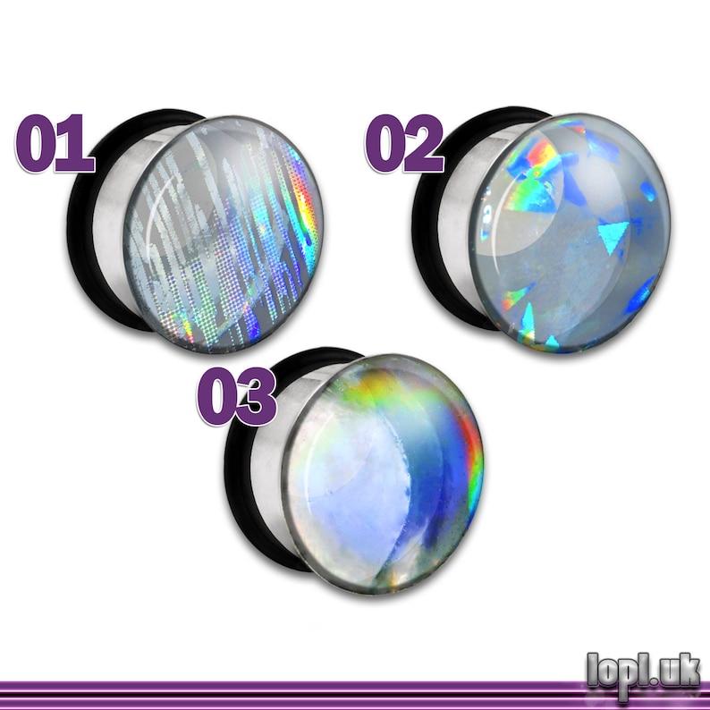 Clear Rainbow Holographic Plug / Gauge 2g 1g 0g 00g 7/16 image 0
