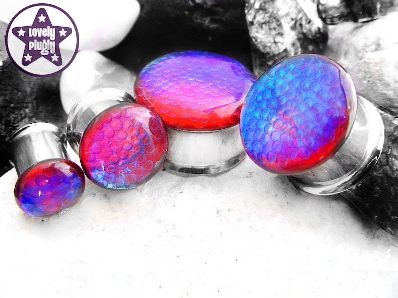 Clear Red Blue Plug  Gauge 00g 716 10mm 11mm Bubbles Faux Dichro Dichroic Double Flared