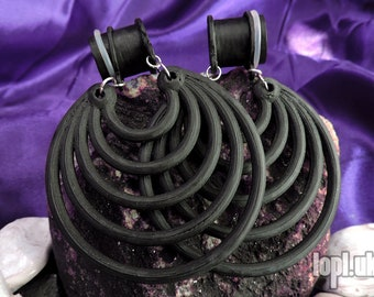 "Black Super Hoops Tunnel Plugs Ear Weights Hangies PLA 3/4"" 7/8"" 1"" / 19mm 20mm 22mm 24mm 25mm"
