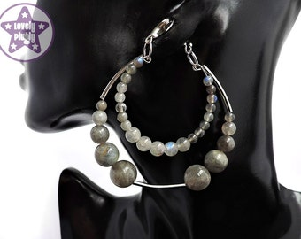 """Grey Labradorite Hoop Dangles / Ear Weights  / Hangies for Tunnels Eyelets Gauges 2g 0g 00g 1/2"""" 9/16"""" 6mm 8mm 10mm 12mm 14mm and over"""