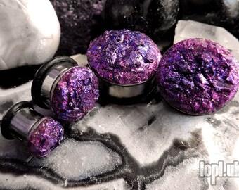 "Glitterati Plugs Gauges Textured Faux Druzy in Pink and Purple Glitter 0g, 00g, 7/16"" / 8mm, 10mm, 11mm"